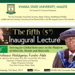 INVITATION TO THE 5TH INAUGURAL LECTURE OF KWARA STATE UNIVERSITY, MALETE