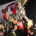 Plane breaks in two after landing in Istanbul airport