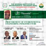 Procurement of Environmental Engineering infrastructure takes center stage as NIEE sets for 2021 S. O. Fadahunsi memorial Lecture
